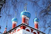 picture of uglich  - Domes of the church of the Prince Dimitry - JPG