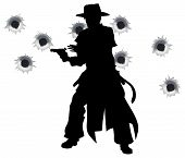 stock photo of gun shot  - A wild west gunslinger drawing and firing his gun in a shootout with bullet holes in the background - JPG