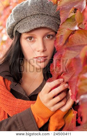 Autumn Leaves Portrait Of Beautiful Female Model