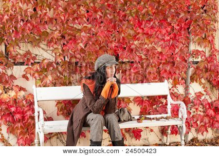 Autumn Park Bench Young Woman Relaxing