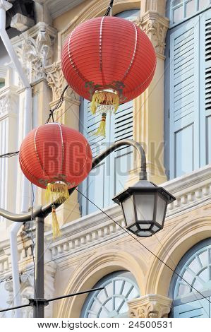Lanterns and traditional architecture in Chinatown