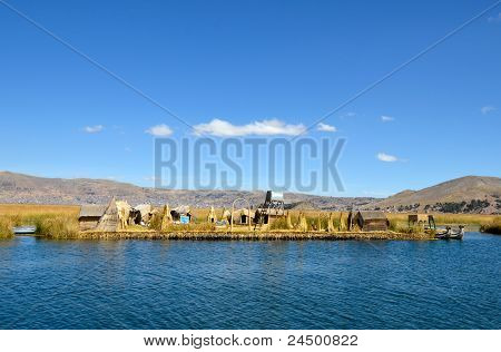 Floating Uros Reed Islands On Lake Titicaca