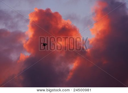 Paraglider Soaring High In Bright Red Sky