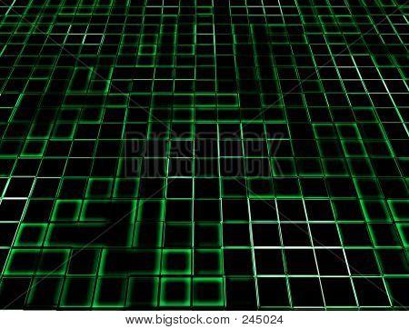 Green Neon Glowing Tiles