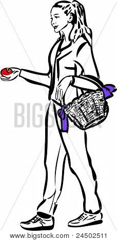 sketch of a girl with a basket and an apple in his hand
