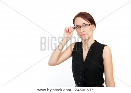 Business Woman Holding Her Glasses