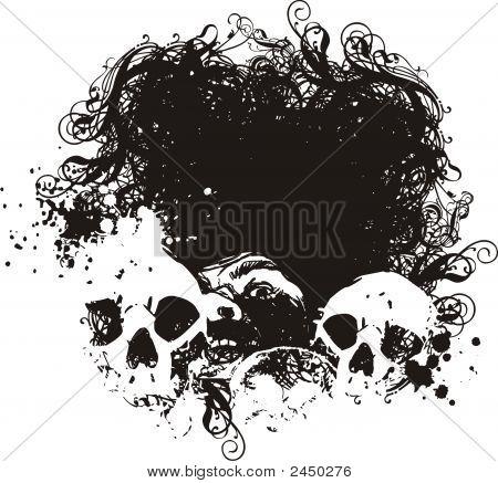 Fear Grunge Skulls Illustration