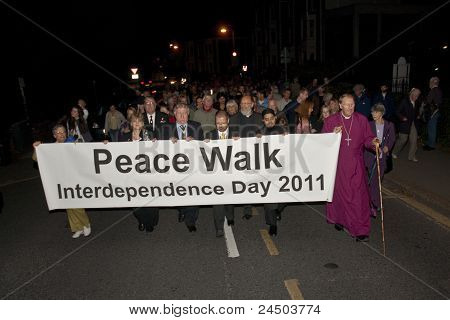 Member Of The Peace Walk For Interdependence Make Their Way Through Exeter City Centre Towards Exete