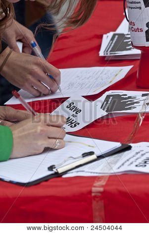 The public sign petitions against NHS reforms in Exeter