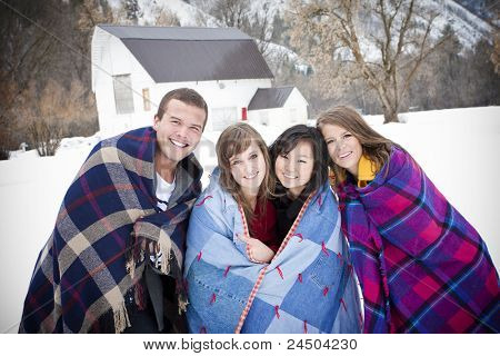 Young Friends Bundle Up for the Cold Winter Weather