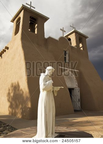 Saint Francis Statue With Church