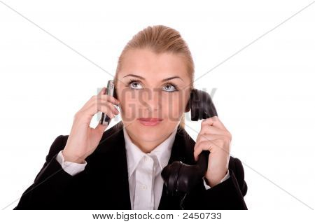 Businesswoman Communication By Phone Over White Background.