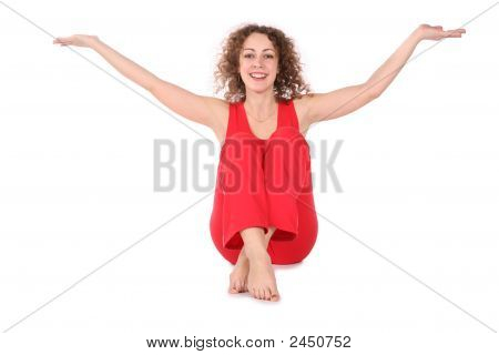 Girl Sitting Hands Up