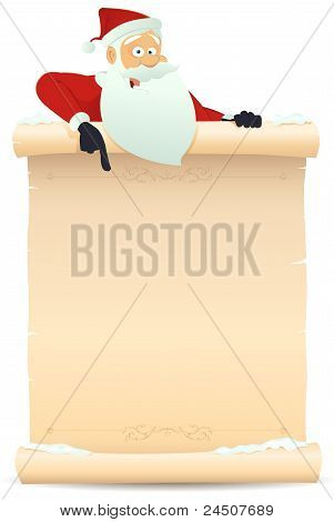 Santa Pointing Parchment Sign