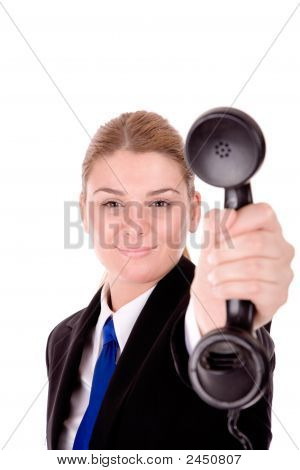 Businesswoman Communication By Mobile Phone Over White Background.