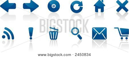 Blue Glossy Internet Icons