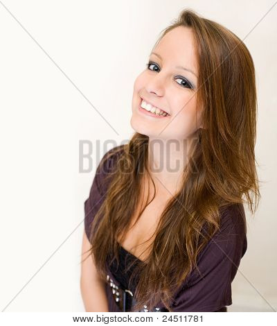 Exuberant Young Brunette Woman.