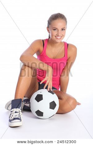 Beautiful Fit Teenage Soccer Player Girl And Ball