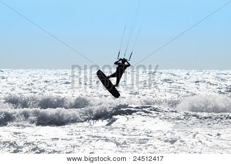 Silhouette Of Kite Surfer
