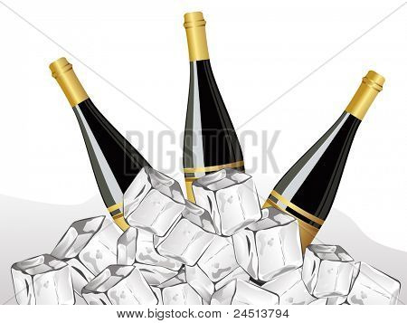 set of three champange bottle with ice cube