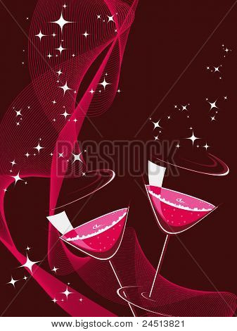 shiny star, wave background with cocktail glass for new year celebration