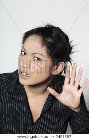 Cute Asian mujer sorda