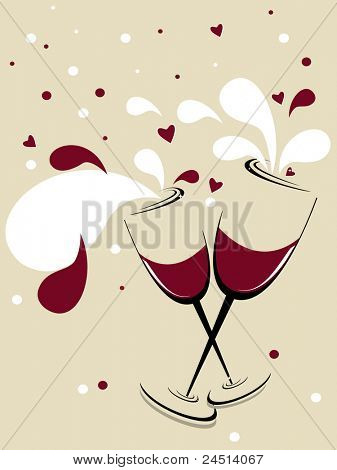 holiday vector background with two glasses of wine, red hearts