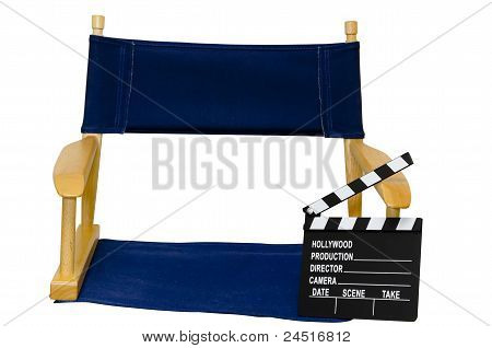 Director's Chair With Clapboard Isolated Closeup