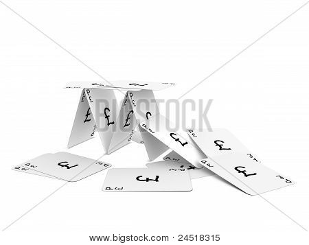 Pound Sterling Card Tower Crash. Isolated On The White Background