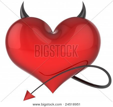 Heart of Devil love icon concept