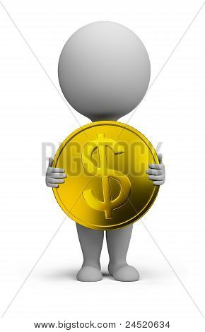 3D Small People - Gold Coin