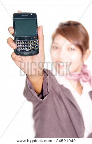 Woman shows his mobile