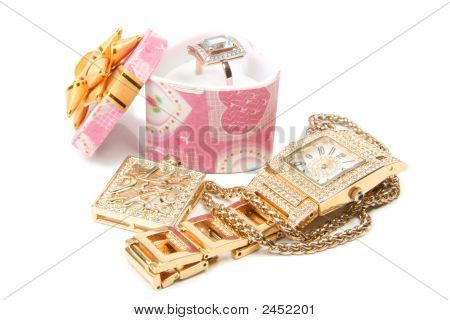 Jewelry Set. Gold Watch, Ring And Necklace.