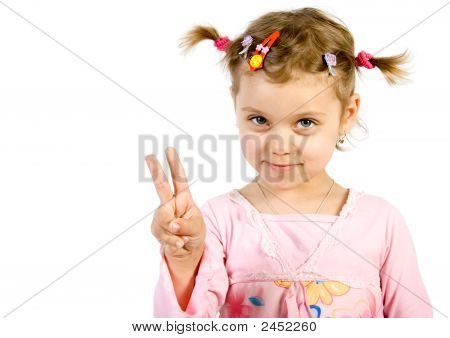Little Girl Showing Victory Sign