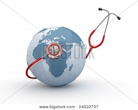 Earth And Stethscope. 3D