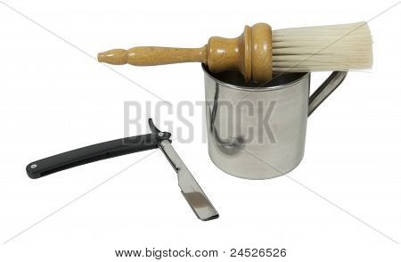 Straight Razor With Mug And Brush