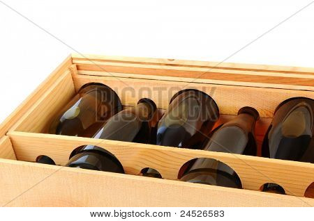 Closeup of a Wooden Case of Chardonnay Wine Bottles.