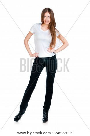 White caucasian Teen wearing a clean T-Shirt