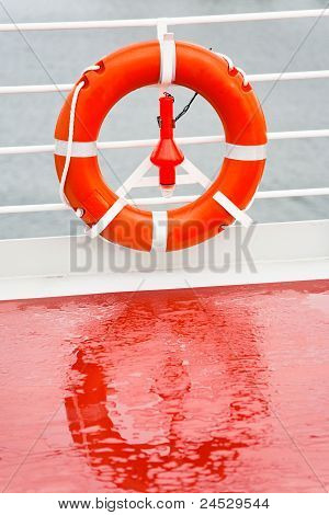 Life Buoy On Sea Cruise Liner