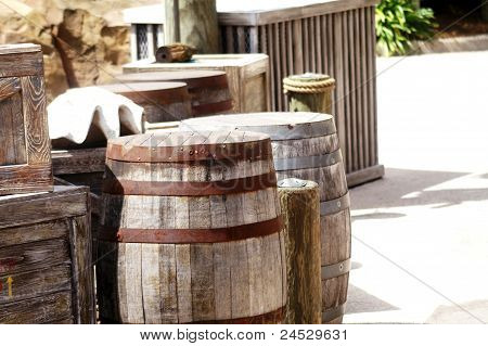 Wooden Barrels and Boxes on Loading Dock
