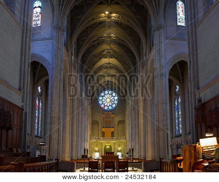 Historic Grace Cathedral Interior In San Francisco