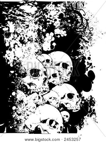 Vector Skulls Floral Illustration