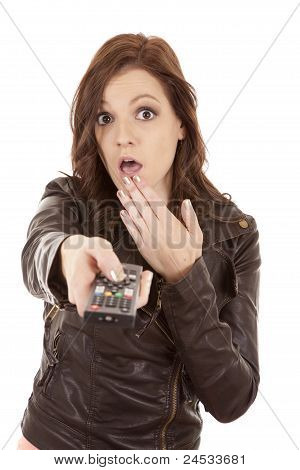 Woman Pointing Remote Shock