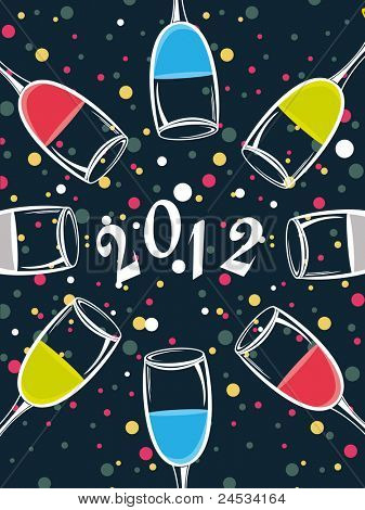 abstract blue background with colorful dots, champagne glass for 2012 happy new year