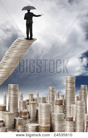 businessman stand on the mony stair and watching the storm coming