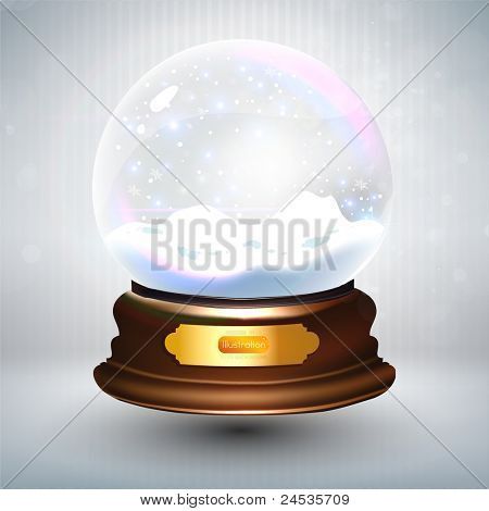 Empty snowglobe against a bright defocused background with glittering lights and snowflakes for Christmas design. Customize by inserting your own object. EPS10 vector.