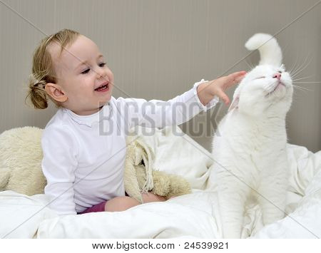 Little Girl Sitting On The Bed And Plays With A Cat