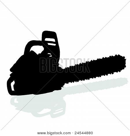 Chainsaw Black Vector Silhouette