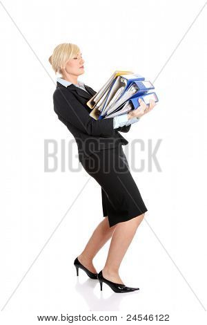 Mature business woman's working hard. Isolated on white background.