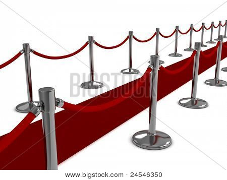 3D Illustration of a Red Carpet Scene